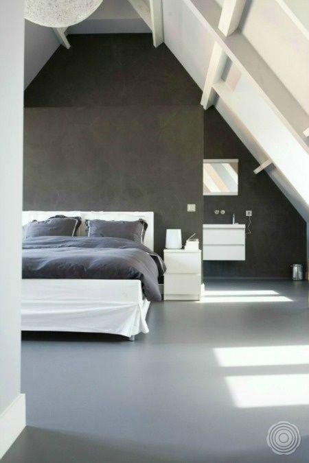 Strakke moderne slaapkamer met gietvloer
